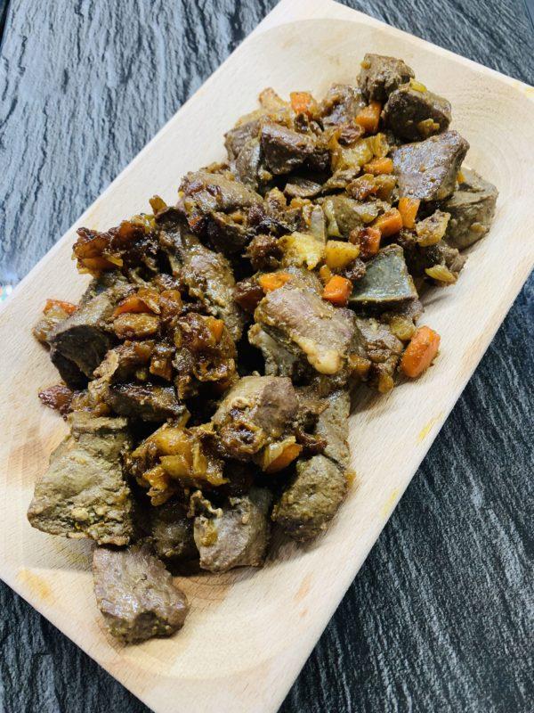 fegato e cuore al curry fine cottura